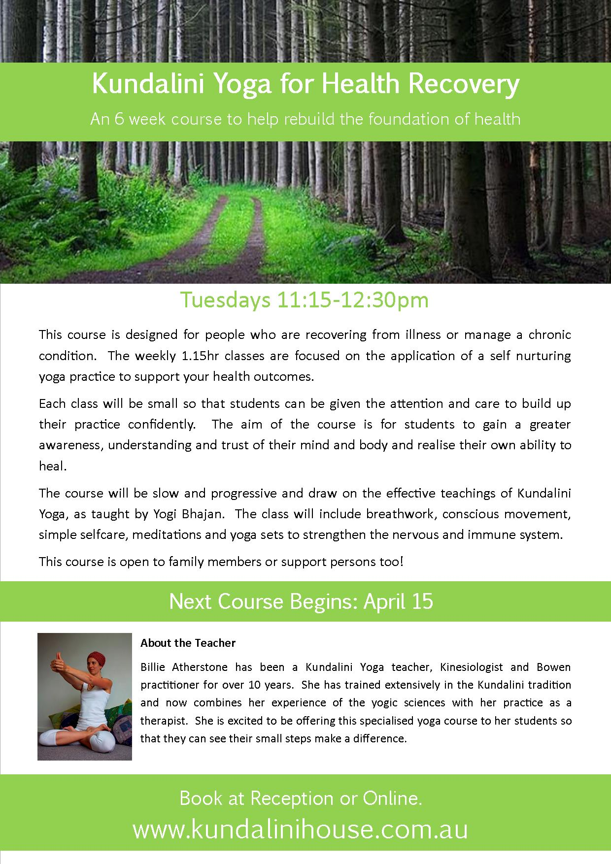 Poster for Yoga for Health Recover_April2014
